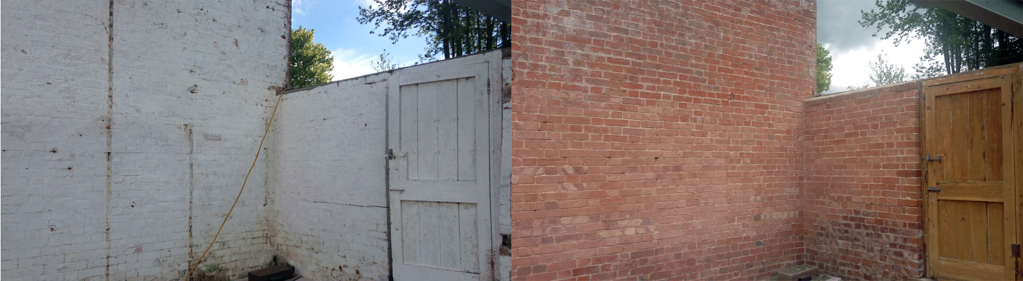 Brick Wall Blast Cleaning Paint Removal